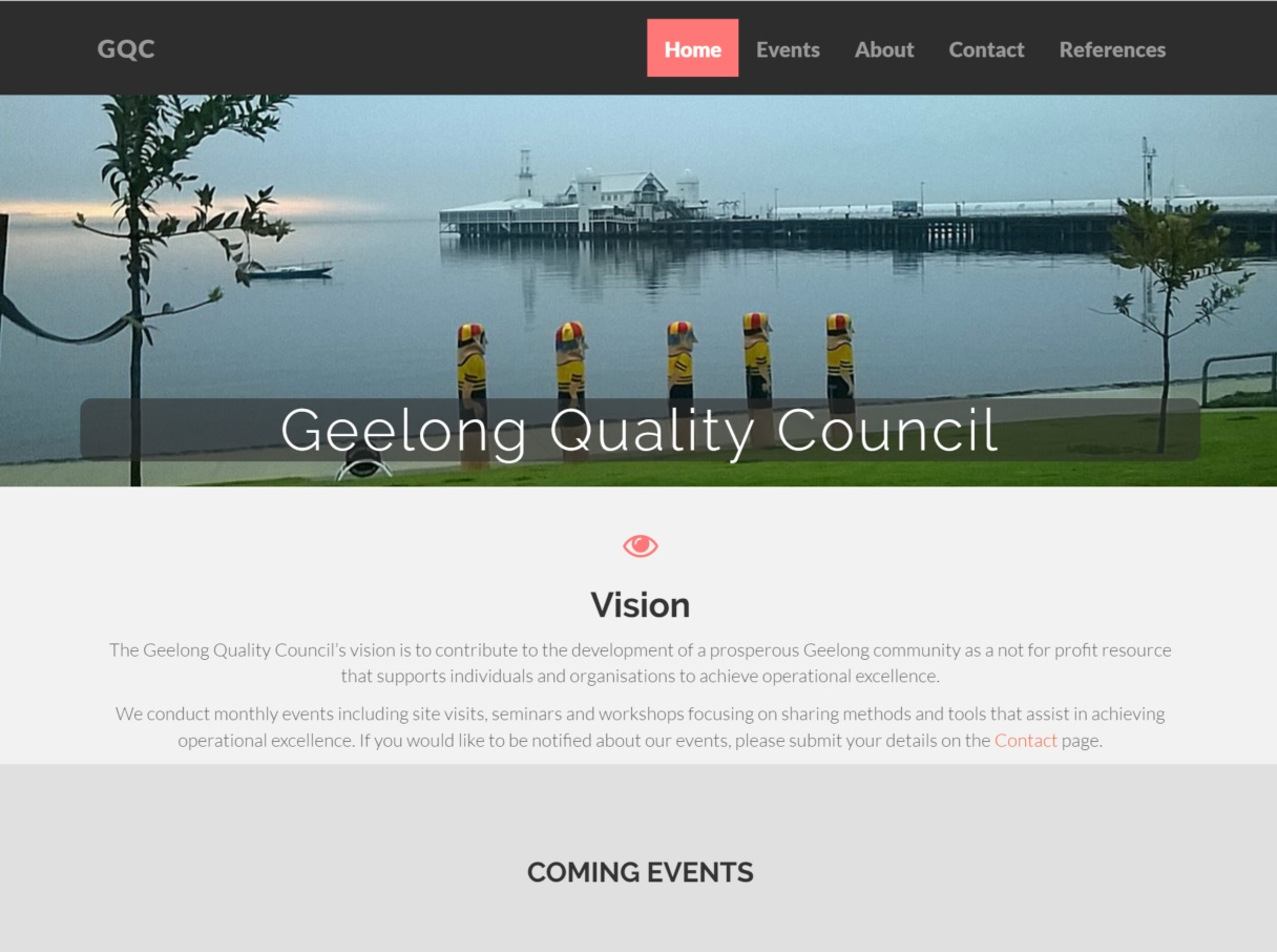 Desktop version of GQC Home Page